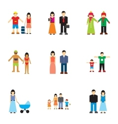 Family icons set flat style vector