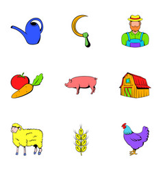 farmer icons set cartoon style vector image