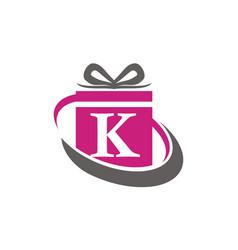 Gift box ribbon letter k vector