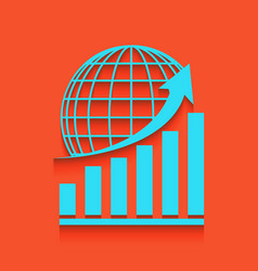 Growing graph with earth whitish icon on vector