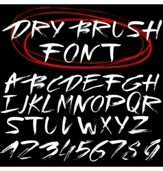 Hand drawn font brush stroke alphabet grunge vector