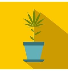Hemp pot icon flat style vector