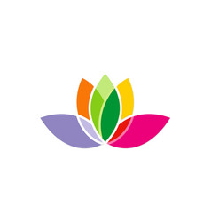 Lotus flower colorful logo vector