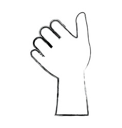 Monochrome blurred silhouette of left hand thumb vector