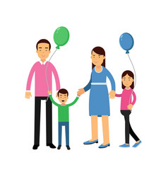 parents and their two kids standing with colorful vector image vector image