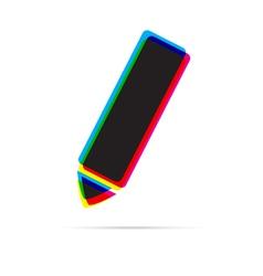 Pencil icon with shadow vector image vector image