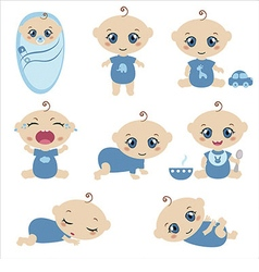 Set of cute baby boys vector image
