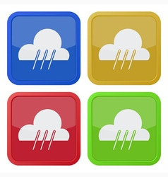 set of four square icons with rain vector image vector image