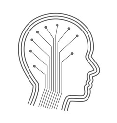 Silhouette head with the neural connections vector
