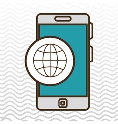smartphone and connection world isolated icon vector image vector image