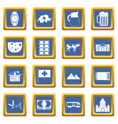 Switzerland icons set blue vector