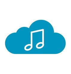 Thin line cloud music icon vector