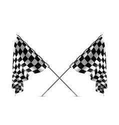 Two crossed checkered flags vector image vector image