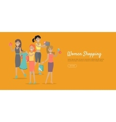 Woman shopping conceptual flat web banner vector