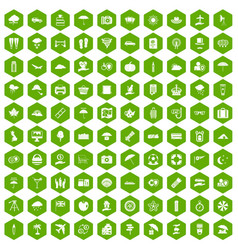 100 umbrella icons hexagon green vector