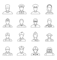 Professions icons set outline style vector