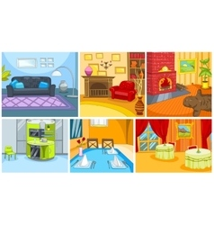 Cartoon set of apartment and restaurant background vector