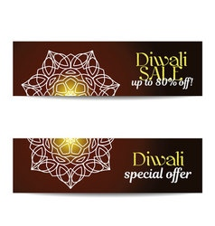 Set of diwali big sale banners indian festival of vector
