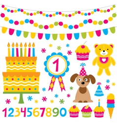 Birthday party design elements set vector