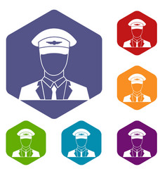 Pilot icons set vector