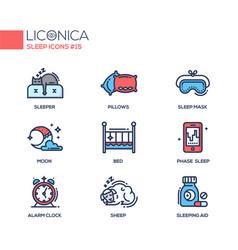 Sleep - coloured modern single line icons set vector