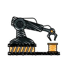 color crayon stripe cartoon industrial mechanical vector image