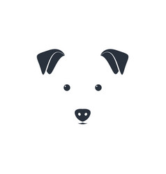 Cute dog head on white background minimal iconic vector