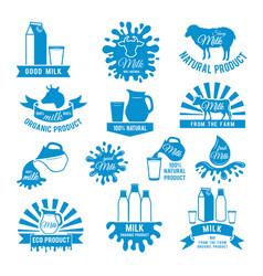 set of milk labels of vector image