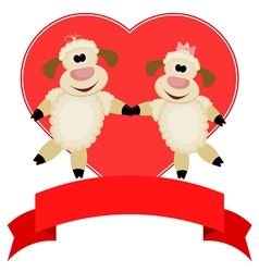 Two sheep on a background of red hearts vector image