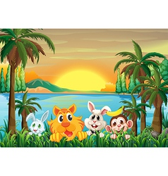 Animals at the riverbank with coconut trees vector