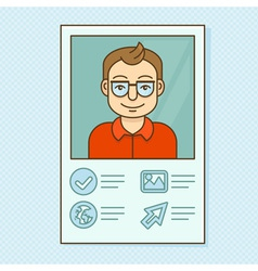 Man profile - resume business card with portrait vector
