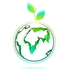 Globe abstract icon with green leaf vector
