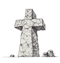 Stone cross vector