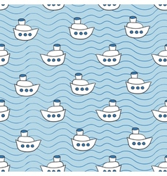 Summer seamless pattern with ship images blue vector