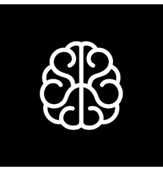 Brain icon on black background vector