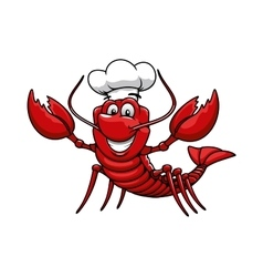 Cartoon red lobster chef in toque cap vector