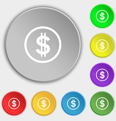 Dollar icon sign symbols on eight flat buttons vector