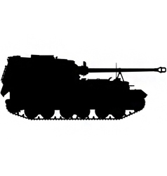 Self propelled artillery gun silhouette vector