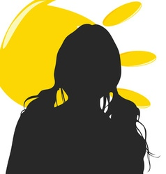 Girl silhouette with sun vector
