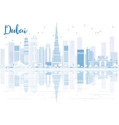 Outline dubai skyline with blue buildings vector