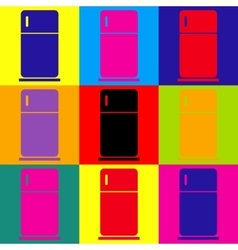 Refrigerator sign pop-art style icons set vector