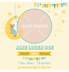 Baby arrival card - sleeping bear theme vector
