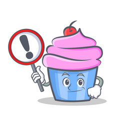 Bring sign cupcake character cartoon style vector