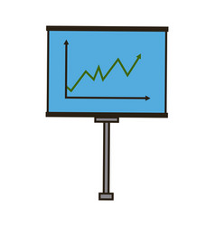 Business board growing chart presentation icon vector