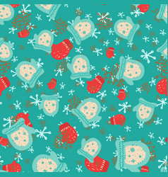 christmas seamless pattern with mittens winter vector image vector image