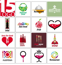 Collection of logos of restaurants and cafe vector