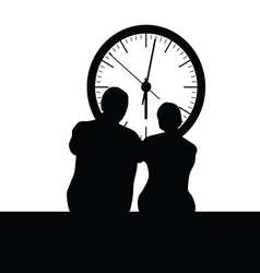 couple front the clock vector image