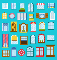 Different house opened windows elements vector