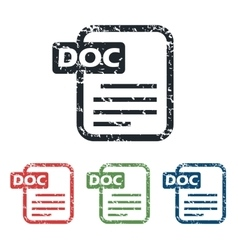Doc file grunge icon set vector image