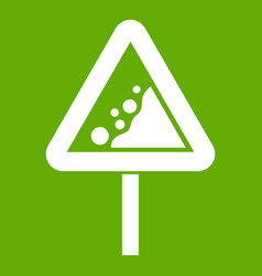 falling rocks warning traffic sign icon green vector image